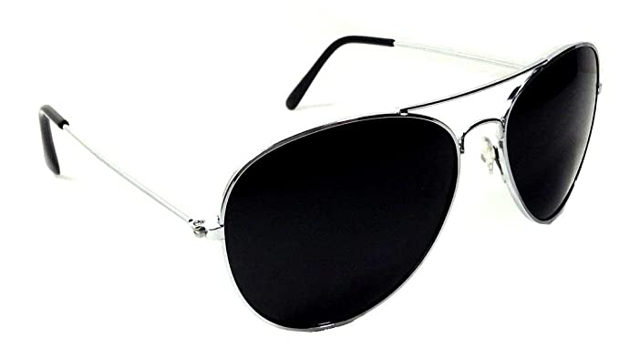 cd6bfb78d7 Image Unavailable. Image not available for. Colour  Black   Silver Pilot  Aviator Sunglasses Super Dark Lenses