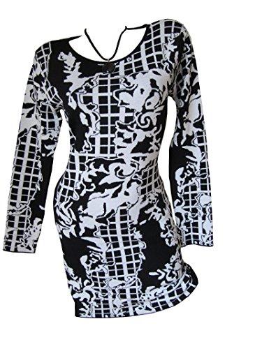 Long Kleid Weiß Pulli Pullover Etui Schwarz Muster Strick Tunika qOw5tS