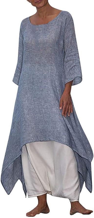 Overdose Soldes Robe Longue Boheme En Lin Femme Grande Taille Ete Manches 3 4 Respirant Robe De Plage Mer Loisir Taille S 5xl Amazon Fr Vetements Et Accessoires