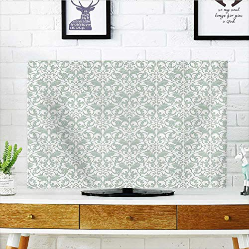Auraisehome tv dust Cover Baroque Curved Leaves Pattern Rococo Style Feminine Kitsch Print Almond Green White Dust Resistant Television Protector W25 x H45 INCH/TV -