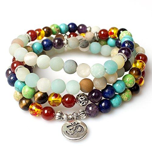 Necklace,7 Chakra Tibetan Buddhist Prayer Mala Beads Amazonite Healing Gemstone OM Pendant Bracelet-Beautiful Gift Box (Mantra Prayer Box)