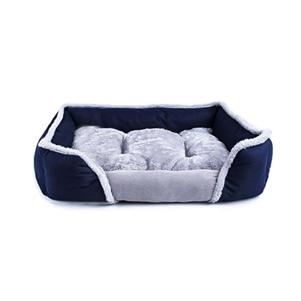 Dark bluee Small Dark bluee Small ZXH77f Pet Dog Bed Washable Puppy Pet Cat Beds Mats colorful-space Pet Dog Bed For Large Dogs Winter Warm Soft Dog Baskets Nest (color   Dark bluee, Size   S)