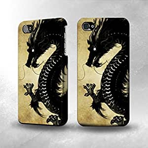 Apple iPhone 4 / 4S Case - The Best 3D Full Wrap iPhone Case - Black Dragon Painting