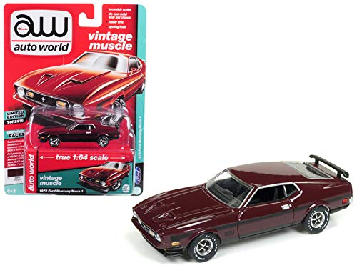 - 1972 Ford Mustang Mach 1 Maroon with Black Stripes Limited Edition to 2,016 pieces Worldwide 1/64 Diecast Model Car by Autoworld AWSP011