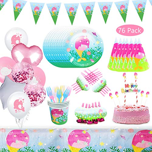 DreamJ Narwhal Party Supplies, 76Pcs Disposable Tableware Set with Narwhal Plates Cups Narwhal Balloons Tablecloth Forks Happy Birthday Banner Cake Toppers Narwhal Hat for Girls Baby Showers Birthday