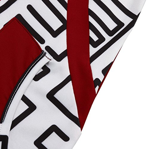 Asymétriques Au Mode Taille Genou Mini Robe Chic Longues Manches Imprimé Rouge Printemps En Grande Élégant V Rayé Jupe Lâche Casual Col Couture Poches Adeshop Automne Femmes Et qZcxwSCIpT