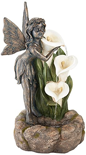 Garden Fairy with Lily Flowers 26″ H Indoor/Outdoor Fountain