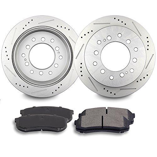Brake Rotors Brakes Pads Kits,ECCPP 2pcs Rear Discs Brake Rotors and 4pcs Ceramic Disc Brake Pads Set for Lexus GX470, Toyota 4Runner,Toyota FJ Cruiser,Toyota Sequoia