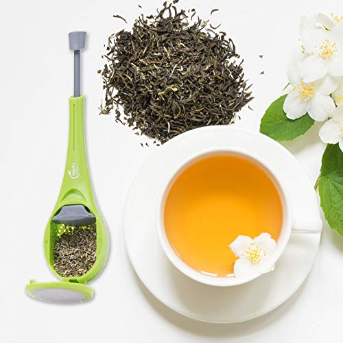 Jokari Tea Infuser - Loose Leaf Tea Strainer - Stands In Cups or Mugs & Mesh Stainless Steel to Infuse, Filter & Strain for Infusion, Best Kitchen Accessories for All Tea Types (1 Pack) Green