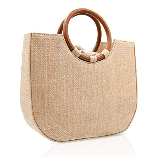 Straw Handbag for Women Summer Beach Straw Handbag Wooden Ring Tote Crossbody Shoulder Bag With Leather Strap ()