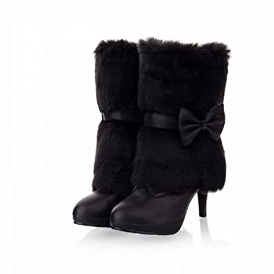 Fashion Faux-fur Womens Platform High Heel High Top Snow Boots Winter Boots