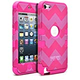 iPod Touch 6 Case, iPod Touch 5 Case, MagicMobile [Armor Shell Series] Hard Plastic Cover + Silicone Hybrid Case for iPod 5th Gen [Impact Shock Resistant] [ Chevron Pink Pattern / Pink Love Design ]