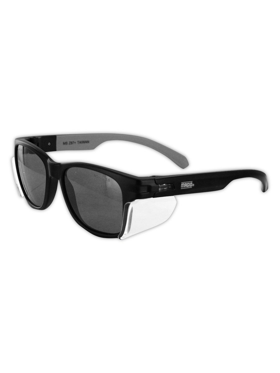 Magid Classic Black Safety Glasses | Iconic Design Series Y50BKAFGY with Side Shields and Cloth Case - UV Protection, Anti Fog Coating, Grey Lens (1 Pair)