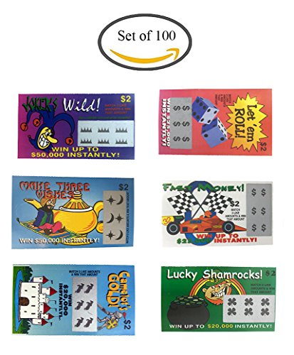 Fake Lottery Tickets-set of 100-Great gag gift from TheGag 6 Designs That Look Real Wholesale Bulk Pack (Tickets Gag)