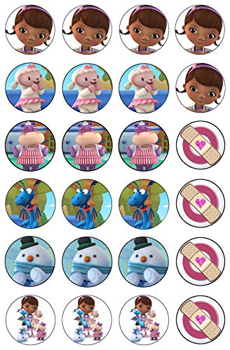 Doc McStuffins Lambie Stuffy Hallie Chilly Mc Stuffins Bandaids Edible Cupcake Toppers ABPID00356]()