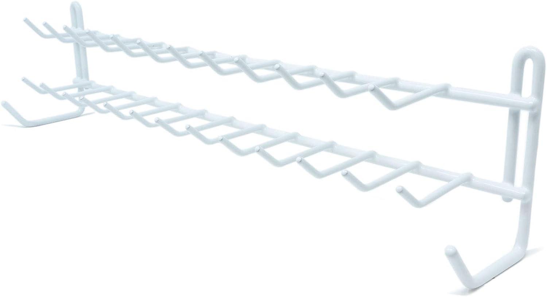 Huji Wall Mount Tie and Belt Rack Organizer, White (1 Pack)