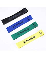 TOMSHOO Träningsband motståndsband, träningsband med 4 olika motståndskrafter perfekt för muskelbyggande sjukgymnastik pilates yoga gymnastik och crossfit