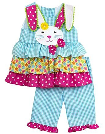 Rare Editions Easter Bunny Ruffle Pant set (4T)
