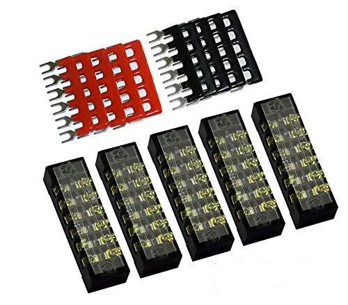 400V 25A 6 Positions Pre-Insulated Terminal Barrier Strip 10pcs Mecion 600V 25A 6 Positions Dual Row Screw Terminal Strip Blocks