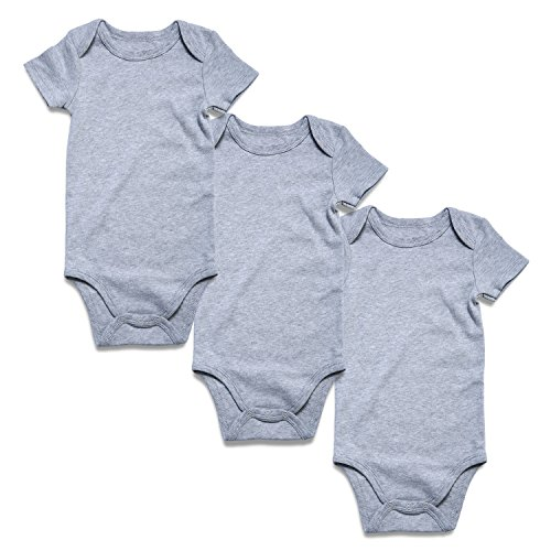 - ROMPERINBOX Solid Grey Baby Bodysuits 3 Pack (6-9 Months, Heather S 3 Pack)