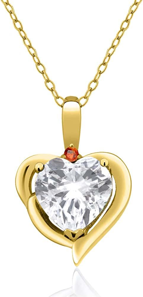 Gem Stone King 2.02 Ct White Topaz Orange Sapphire 18K Yellow Gold Plated Silver Pendant
