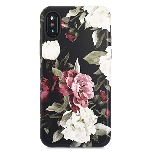 iPhone X Case/iPhone Xs Case,GOLINK Floral Series Slim-Fit Ultra-Thin Anti-Scratch Shock Proof Dust Proof Anti-Finger Print TPU Gel Case for iPhone X/iPhone Xs - Red White Rose