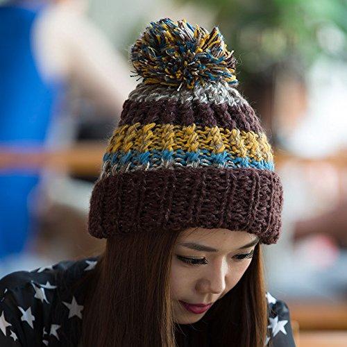 de Coreana Maozi versión otoño de Mezclados COFFEECOLOR Invierno para Red Punto de de Huesos Tapa Damas Pescado Lana Colores 5qE5xrS
