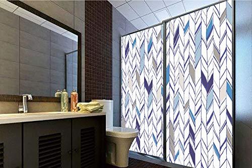 Horrisophie dodo 3D Privacy Window Film No Glue,Navy,Tribal Zigzag Lines Pattern in Various Shades Geometric Boho Sketch Print,Sky Blue Grey Tan Pearl,47.24