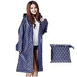 Aimeio Simple Blue Dot Thicken EVA Raincoat with Hood Translucent Waterproof Over Knee Length Poncho Coat Women Outdoor Rainwear