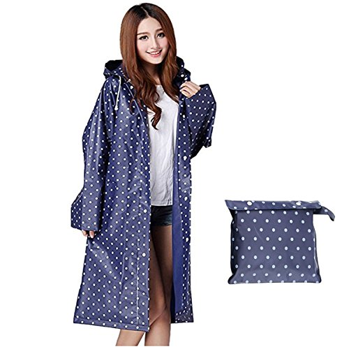 Aimeio Simple Blue Dot Thicken EVA Raincoat with Hood Translucent Waterproof Over Knee Length Poncho Coat Women Outdoor ()