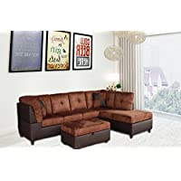 Legend 3 Piece,Brown Color Microfiber and Faux Leather Left-Facing Sectional Sofa Set with Free Storage Ottoman