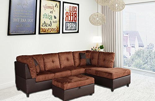 Left 3 Piece Sectional (Legend 3 Piece,Brown Color Microfiber and Faux Leather Left-Facing Sectional Sofa Set with Free Storage Ottoman)