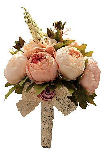 Bouquet Wildflower Wedding (Zebratown 9'' Vintage Artificial Peony Silk Roses Flowers Bouquet Home Wedding Decoration Bridal Bridesmaid Flower Holders (Champagne))