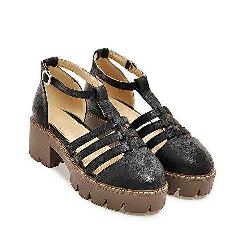 BalaMasa Sandales Compensées Femme - Noir - Noir, 36.5 EU