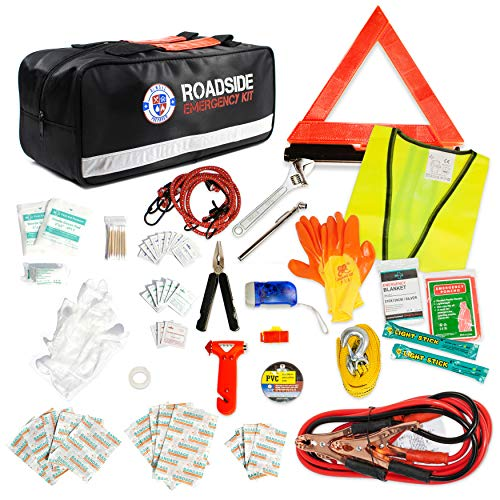 Always Prepared 125 Piece Safety Roadside Assistance Kit – Premium Car Emergency Kit with Jumper Cables – Roadside Assistance Auto Emergency Kit – Exclusive Car Kits Emergency – Gifts for New Car