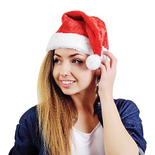 Velvet Complete Santa Adult Costumes (AKAKING's Costume Deluxe Adult Plush Red Christmas Santa Hat (Plush Santa Hat))