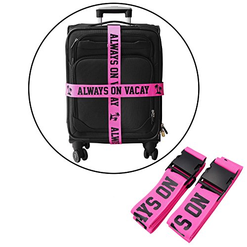 - Squad Goods Always on Vacay Pink Luggage Strap - Set of 2