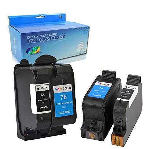 Karl Aiken 4X (2 Black, 2 Tri-Color) Compatible for HP 45 78 Ink Cartridge 78A 45A 51645A C6578A for Deskjet 1120c 1125c 1180c 1220c 1280 1600c 6122 9300 930c 932c 935c 950c 952c 955c 960 Printer