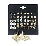 Spiritlele 20 Pairs Elephant Owl Stud Earrings Set Leaf Drop Earrings Pack for Women Girls (20 Leaf)