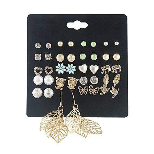 Butterfly Set Stud Earring (Spiritlele 20 Pairs Elephant Owl Stud Earrings Set Leaf Drop Earrings Pack for Women Girls (20 Leaf))