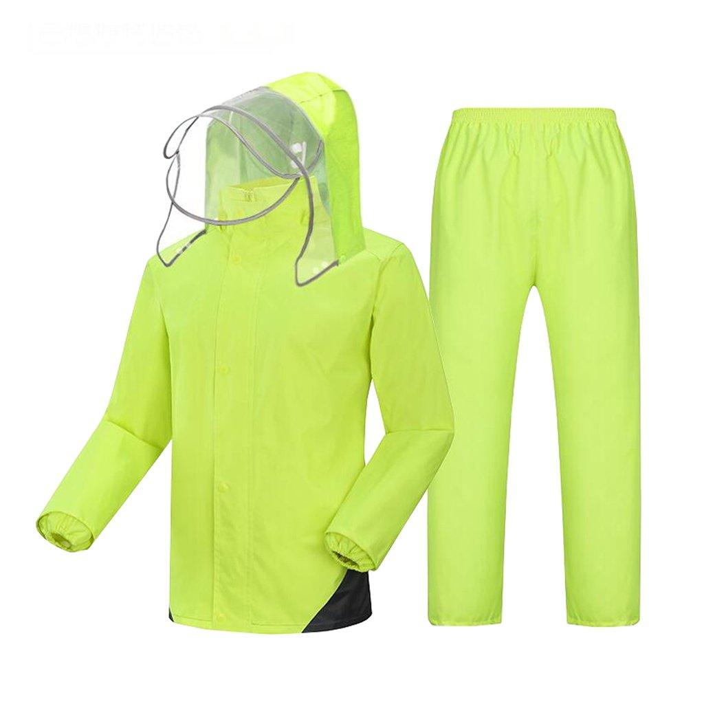 Mj-cj Rainsuit- Mens Waterproof Set Mens Waterproof Rain Coat Jacket Coat Trousers Bottoms Set Suit Work Camping Fishing (Size : XXXL)
