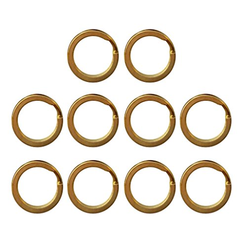 Homyl Pack 10 Brass Flat Split Round Rings Key Ring Key Holder Key Fob Hook Loop Keychain Accessories - 15mm 20mm 25mm 28mm 30mm 32mm - - Pendant Flat Link Tag