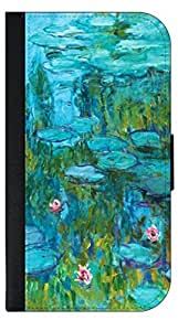 Claude Monet-LIGHT BLUE Nympheas- Wallet Case for the APPLE IPHONE 4, 4s ONLY!!!!!-PU Leather and Suede Wallet Iphone Case with Flip Cover that Closes with a Magnetic Clasp and 3 Inner Pockets for Storage