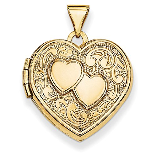 ICE CARATS 14k Yellow Gold Double Heart Photo Pendant Charm Locket Chain Necklace That Holds Pictures Fine Jewelry Ideal Mothers Day Gifts For Mom Women Gift Set From Heart by ICE CARATS