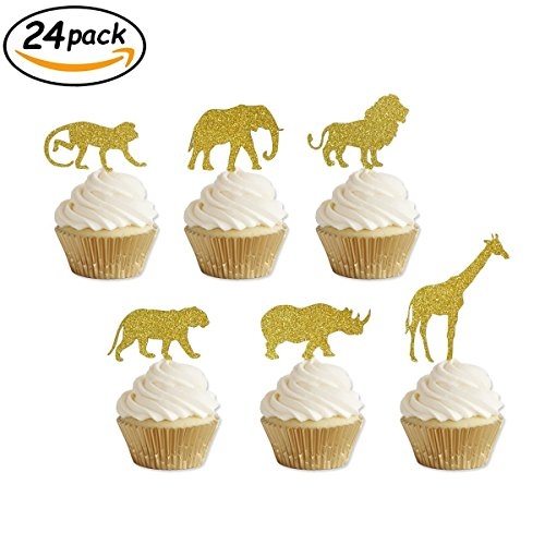 Jungle Safari Cake - Gold Glitter Jungle Safari Animal Cupcake toppers Elephant Giraffe Rhino Lion Tiger Monkey for Jungle safari Baby Shower Birthday Party Supplies Decorations 24 Counts