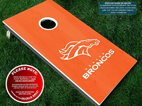 Broncos Cornhole Decals | HALF SET | Color Choice | Large Decals + Ring Sticker | DIY Cornhole Board Building & Decorating | Decal Sticker Hub ()
