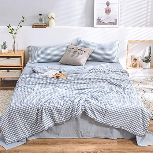 INS Style Bedding Set, Summer Quilt Set Washed Cotton Ruffled Single Bed Double Bed Sheets Suitable for Summer,C,3p180X220cm (Einzigartige Anzüge)