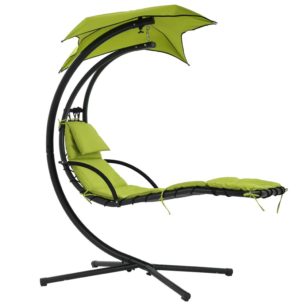 Patio Chair Lounger Chair Hanging Chaise Floating Chaise Canopy Swing Lounge Chair Hammock Arc Stand Air Porch Stand for Outdoor Indoor by FDW (Image #1)