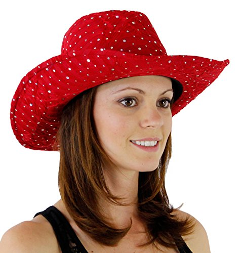 Glitter Sequin Trim Cowboy Hat Red One Size by Greatlookz Fashion