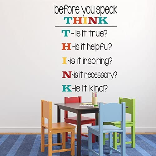 Before You Speak Think Wall Stickers Toarti Colorful Inspirational Quotes Wall Decals Positive Saying Vinyl Wall Art For Kids Room Classroom Decor Wall Stickers Murals